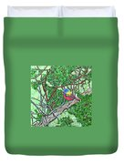 Bald Head Island, Painted Bunting At Defying Gravity Duvet Cover