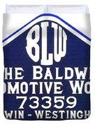 Baldwin Diesel Builders Plate Duvet Cover