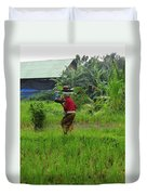 Balinese Lady Carrying Pot Duvet Cover