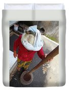 Balinese Lady Grinding Coffee Duvet Cover