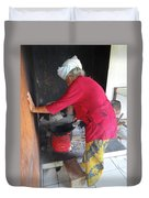 Balinese Lady Roasting Coffee Leans Again Wall Duvet Cover