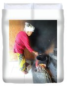 Balinese Lady Roasting Coffee Over The Fire Duvet Cover