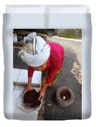 Balinese Lady Sifting Coffee Duvet Cover