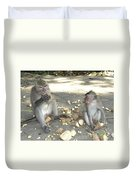 Balinese Monkeys Eating Duvet Cover