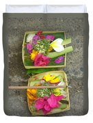 Balinese Offering Baskets Duvet Cover