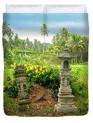 Balinese Rice Field Shrines Duvet Cover