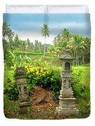 Balinese Rice Field Shrines Duvet Cover