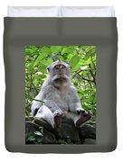 Balinese Serious Monkey Duvet Cover