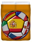 Ball With Flag Of Spain In The Center Duvet Cover