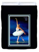 Ballerina On Stage L A With Decorative Ornate Printed Frame. Duvet Cover