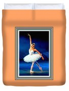 Ballerina On Stage L B With Alt. Decorative Ornate Printed Frame. Duvet Cover