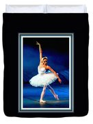 Ballerina On Stage L B With Decorative Ornate Printed Frame. Duvet Cover