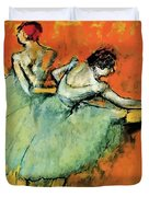 Ballet Dancers At The Barre Duvet Cover