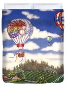 Ballooning Over The Country Duvet Cover