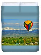 Ballooning Over The Rockies Duvet Cover by Scott Mahon