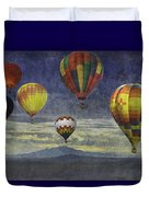 Balloons Over Sister Mountains Duvet Cover