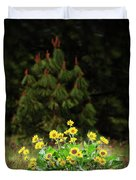 Balsamroot And Evergreen Duvet Cover