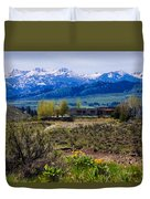Balsamroot Flowers And North Cascade Mountains Duvet Cover