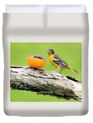 Baltimore Oriole Having Breakfast This Morning Duvet Cover