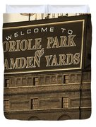 Baltimore Orioles Park At Camden Yards Sepia Duvet Cover