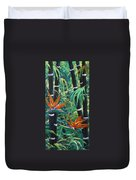 Bamboo And Birds Of Paradise Duvet Cover