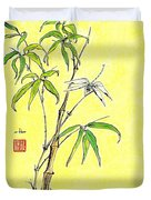 Bamboo And Dragonfly Duvet Cover