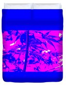 Bamboo Like Leaves Blue Duvet Cover
