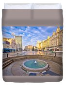 Ban Jelacic Square In Zagreb Advent View Duvet Cover