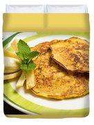 Banana Pancakes Closeup Duvet Cover