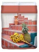 Bananas And Pineapple On Terracotta Steps Duvet Cover