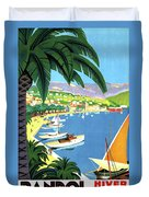 Bandol, French Riviera, Boats On Port Duvet Cover