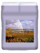 Bandon Beach Rainbow Sunrise Duvet Cover by Ed  Riche