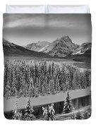 Banff Bow River Black And White Duvet Cover