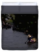 Bangkok Floating Market Duvet Cover by Travel Pics
