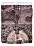 Banjo Mandolin On Garden Wall Duvet Cover by Bill Cannon
