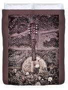 Banjo Mandolin On Garden Wall Duvet Cover