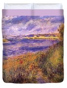 Banks Of The Seine At Champrosay Duvet Cover