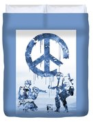 Banksy Soldiers-blue Duvet Cover
