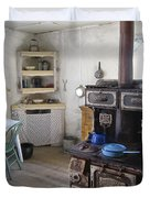 Bannack Ghost Town  Kitchen And Stove - Montana Territory Duvet Cover