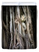 Banyan Grows Over Statue Duvet Cover