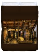 Bar - Wine Barrels Duvet Cover by Mike Savad