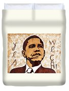 Barack Obama Words Of Wisdom Coffee Painting Duvet Cover by Georgeta  Blanaru
