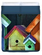 Barbara's Birdhouses Duvet Cover