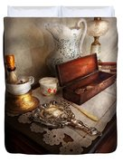 Barber - The Morning Ritual Duvet Cover by Mike Savad