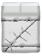Barbwire Fence In Snow 1 Duvet Cover