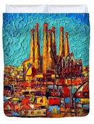 Barcelona Abstract Cityscape - Sagrada Familia Duvet Cover