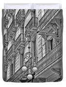 Barcelona Balconies In Black And White  Duvet Cover