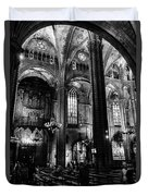 Barcelona Cathedral Interior Bw Duvet Cover