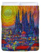 Barcelona Colorful Sunset Over Sagrada Familia Abstract City Knife Oil Painting Ana Maria Edulescu Duvet Cover