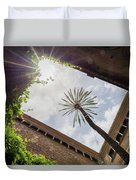 Barcelona Courtyard With Palm Tree Duvet Cover